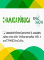 Chamada Pública para seleção de professor bolsista do PRONATEC/Novos Caminhos 2021.2